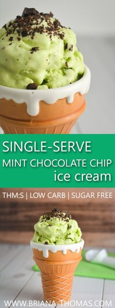 Single-Serve Mint Chocolate Chip Ice Cream - THM:S - Trim Healthy Mama S - low glycemic - low carb - sugar free - gluten free - egg free - nut free - no ice cream maker required! - great breakfast…More Indulgent Keto Friendly Ice Cream Recipes Sugar Free Desserts, Sugar Free Recipes, Low Carb Desserts, Gluten Free Desserts, Low Carb Recipes, Dessert Recipes, Dessert Ideas, Chocolate Chip Ice Cream, Mint Chocolate Chips