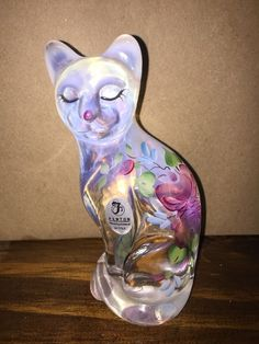 Fenton Opalescent Glass Cat W/ Hand Painted Flowers Signed