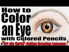 How to color an eye with colored pencils - YouTube