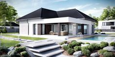 Find home projects from professionals for ideas & inspiration. Projekt domu HomeKONCEPT 32 by HomeKONCEPT Bungalow House Design, Small House Design, Modern House Design, Modern Family House, Small Modern Home, Modern Contemporary, Morden House, Circle House, Model House Plan