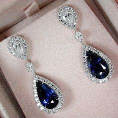 Gorgeous White Gold Filled Natural Gemstone Blue Sapphire & White Diamond Dangle Drop Stud Earring Engagement Wedding Bridal Women Fine Jewelry - July 20 2019 at Sapphire Jewelry, Sapphire Earrings, Gold Earrings, Diamond Earrings Tiffany, Diamond Stud, Sapphire Birthstone, Black Diamond, Gemstone Jewelry, Blue Diamond Jewelry