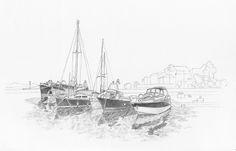 31. júla 2014. chorvátsko, prístav v podgore. ceruzka.