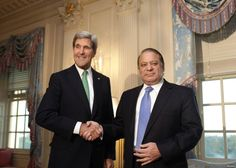 U.S. Secretary of State John Kerry (L) shakes hands with Pakistan's Prime Minister Nawaz Sharif before their meeting at the State Department in Washington