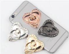 Universal Crystal Heart Stent Kit Sticky Stand Holder For Mobile Cell Phone Heart Shaped Rings, Heart Ring, Heart Stent, Ring Stand, Ring Finger, Phone Holder, Phone Accessories, Smartphone, Ipad