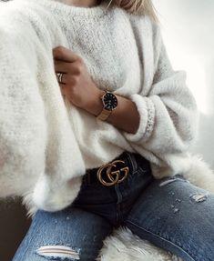 Cozy sweater + distressed denim.