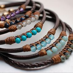 5 Perfect Gems Leather Bracelets-Ocean Colors | Wallin & Buerkle