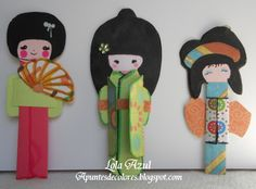 handmade paper kokishi dolls ... by a Spanish blogger ...
