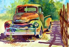 """OLD 50'S GEM_Mary Shepard original Watercolor on 6"""" x 10"""" Arches watercolor paper. Transparent watercolor painted in luminous bright hues of an old 50's Chevy. www.maryshepard.com"""