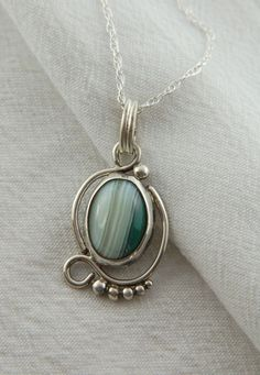 Green Banded Agate Artisan Pendant in Sterling Silver, romantic jewelry, gifts for her, gifts for mom, pendant for him, handmade jewelry, on Etsy, $120.00