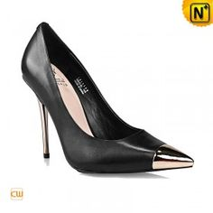Women True Sheep Leather Sexy Party Dress Heels Metal Plating Pointy Toe Pumps CW235606 $255.57 - www.cwmalls.com