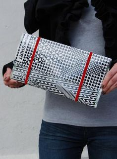 Old News! Clutch Bag,  Bag, up-cycle  magazine  print  eco chic  fashion, Eco Friendly