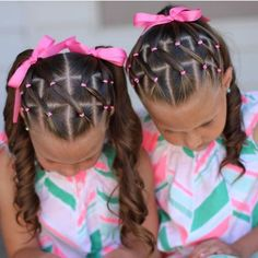 """Love this adorable elastic style! Sister braids are so cute! credit…"
