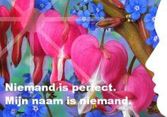 Mijn inspiratie: Niemand is perfect. Mijn naam is niemand.