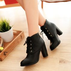 Womens Synthetic Leather High Heels Court Shoes Pumps Lace Up Retro Ankle Boot