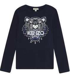 Work Kenzo's covetable cool into your little one's wardrobe with this top. Printed with the French label's signature tiger, this comfy cotton top will give their everyday a big boost of designer style. New Me, Kenzo, Jumper, Graphic Sweatshirt, Stylish, Sweatshirts, Long Sleeve, Sweaters, Mens Tops
