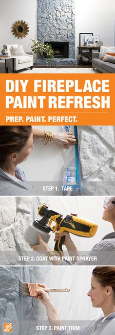 To refresh your fireplace with paint, prep the area with a ScotchBlue Pre-Taped Painter's Plastic Drop Cloth before using a Wagner handheld sprayer to apply BEHR Premium Plus paint in Moonquake…More Paint Fireplace, Home Fireplace, Fireplace Remodel, Fireplace Makeovers, Painted Brick Fireplaces, Ideas Prácticas, Decor Ideas, D House, Shopping