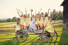 We're loving these soft yellow bridesmaids dresses at this country chic #MontanaWedding ! Springhill Pavilion, Bozeman. Notarius Photography