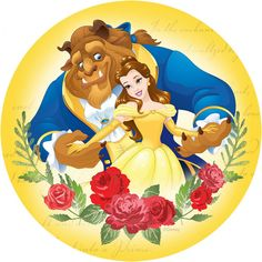 Personalised Beauty & The Beast edible printed icing Round Cake Topper Pre-Cut <br> Beauty And Beast Birthday, Beauty And The Beast Party, Disney Beauty And The Beast, Princesa Disney Bella, Disney Princess Belle, Princess Cake Toppers, Edible Printing, Cake Images, Disney Art