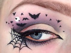 Cute and simply moonlit sky with bats eye makeup for Halloween