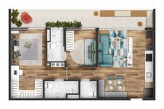 Paes e Gregori Ed. Ybyra tipo 70m² Small Apartment Plans, Single Apartment, Apartment Floor Plans, 3d House Plans, Small House Plans, Design Your Own Home, Tiny House Design, House Plans Australia, Mini Loft
