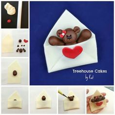 Ditch the old-fashioned paper valentines and send something a little cuter - and sweeter too! Valentines Gift Box, Valentines Day Cakes, Bear Valentines, Valentine Cookies, Fondant Cake Toppers, Fondant Cupcakes, Fondant Rose, Cupcake Toppers, Marzipan