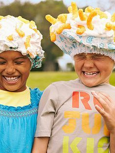 Shaving cream over a shower cap and then throw Cheetos on top--whoever catches the most, wins.  LOL  A MUST DO!!!  Good idea for the family reunion!
