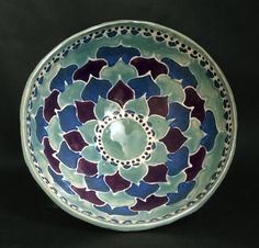 Slip trail design with glaze. Handmade Pottery, Serving Bowls, Glaze, Trail, Mandala, Ceramics, Tableware, Pattern, Design