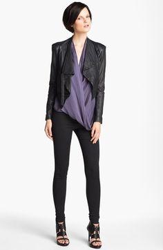 HELMUT Helmut Lang Jacket, Blouse & Leggings | Nordstrom Titan drape blouse purple, leggings, Manolo Blahnik 'Pepe' Wedge Sandal