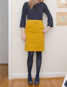 mustard and navy Fashion Themes, Fashion 101, Fashion Beauty, Skirt Outfits, Fall Outfits, Mustard Skirt, J Crew Shoes, Corduroy Skirt, Sweater Weather