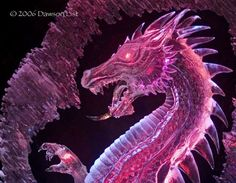 dragon ice sculpture | predominantly red version of the sculpture, with a right claw