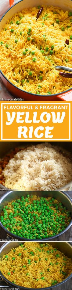 South African Yellow Rice- Quick, easy fragrant rice spiced with turmeric, ginger, and a taste bud sensation. Rice Side Dishes, Food Dishes, Vegetarian Italian, Vegetarian Recipes, Indian Yellow Rice, Yellow Rice Recipes, Pasta Recipes, Cooking Recipes, Indian Dishes