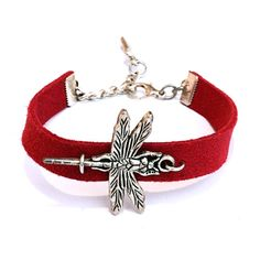 Red vegan suede leather bracelet with dragonfly by WrapItSnapIt