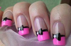 Linhas unhas decoradas com lacinhos