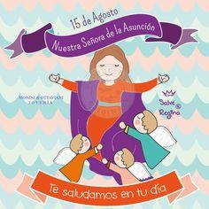 """Hoy celebramos la Asunción de María.  Esta fiesta conmemora la feliz partida de María de esta vida y la asunción de su cuerpo al cielo.  Un ángel se le apareció a la Virgen y le entregó la palma diciendo: """"María, levántate, te traigo esta rama de un árbol del paraíso, para que cuando mueras la lleven delante de tu cuerpo, porque vengo a anunciarte que tu Hijo te aguarda"""".   Saludamos a Nuestra Señora de la Asunción, Patrona de Asunción Paraguay ❤❤❤"""