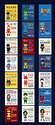 Superhero Set of 21  Christian Wall Art Print  Bible Verse Nursery Playroom or Kids Room Decor ** You can get more details by clicking on the image. (Note:Amazon affiliate link)