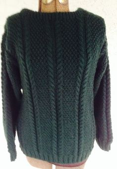 Hand Knit Sweater Fisherman Knit Forest Green by GreenSheepFibres