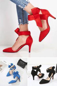 df7a33c558a4 Bow Stiletto Heel Pointed Toe Women s Pumps Women s Pumps shoes