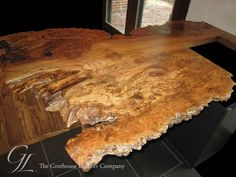 Currently obsessed with live edge wood shit: English Wych Elm Live Edge Wood Countertop in Wisconsin