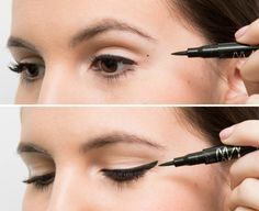 USE DOTS TO GET SYMMETRICAL WINGED EYELINER Once you've figured out where you want the dots, draw a small line from the dot inward to connect them to the liner at your lash line. No more having to guess what the angle should be or where the line should end.