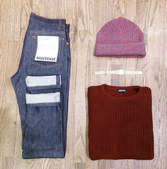 Winter knits and denim.