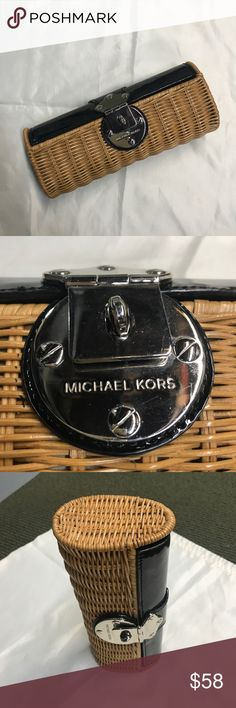 Wicker and patent Michael Kors clutch Perfect clutch with beautiful wicker and patent leather exterior and silver hardware. No damage, seems new. Right on trend! MICHAEL Michael Kors Bags Clutches & Wristlets