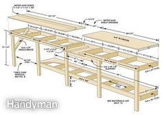 Garage bench plans fresh affordable modular workbench the family handyman with designs for free fami . Woodworking Bench Plans, Woodworking Projects, Diy Projects, Teds Woodworking, Woodworking Joints, Woodworking Machinery, Woodworking Classes, Woodworking Videos, Woodworking Software