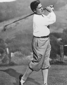 A golfer wearing plus fours, pants baggier and four inches longer than ordinary knickers.