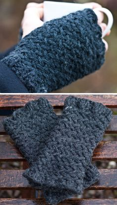 Free Knitting Pattern for North Sea Kippers Herringbone Fingerless Gloves - Herringbone stitch handwarmers perfect for him and her, with optional thumb ribbing. Knit with bulky yarn. Designed by Kat Goldin
