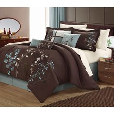 Transform the look of your bedroom with this contemporary bed-in-a-bag with sheets.This set features a beautiful vine print and includes a comforter, two shams, a bed skirt, four accent pillows, one flat sheet, one fitted sheet and two pillowcases.