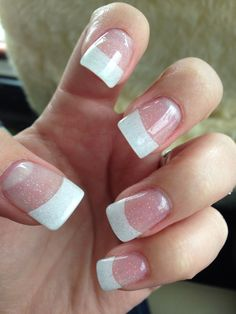 White tips, subtle glitter nails Wide Nails, Glitter Nails, My Style, Tips, Beauty, Glittery Nails, Beauty Illustration, Counseling