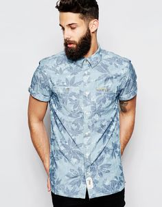 """Printed shirt by Pepe Jeans Breathable woven fabric Point collar Button placket Fastened chest pockets Logo tab Regular fit - true to size Machine wash 100% Cotton Our model wears a size Medium and is 181cm/5'11.5"""" tall"""