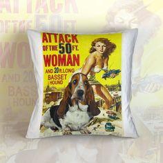 Basset Hound Art Pillow Case Throw Pillow - #housewares #pillow @EtsyMktgTool #dogpillow #cottonfabric #homedecor #decorativepillow