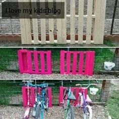 How to make a DIY bike rack from a wood pallet. Easy Tutorial Could do one pink, one blue.
