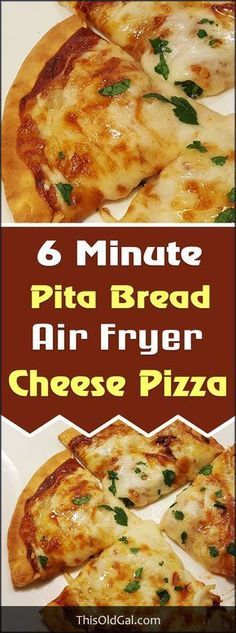 Air Fryer 6 Minute Pita Bread Cheese Pizza with Pepperoni, Onions, Garlic, Sausage is perfect when you want to make a quick lunch or snack. via This Old Gal pizza Nuwave Air Fryer, Cooks Air Fryer, Sauce Pizza, Pain Pita, Actifry Recipes, Air Fryer Oven Recipes, Power Air Fryer Recipes, Air Fryer Recipes Vegetables, Air Fryer Dinner Recipes